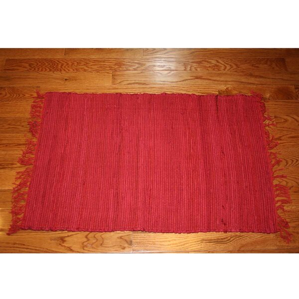 One-of-a-Kind Linmore Solid Hand-Woven Rust Area Rug by Bay Isle Home