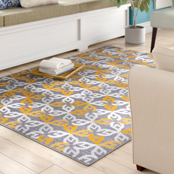 Imelda Contemporary Geometric Non-Slip Gray/Yellow Area Rug by Winston Porter