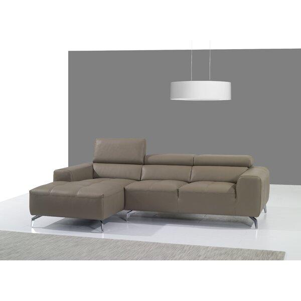 Alden Leather Sectional by Orren Ellis