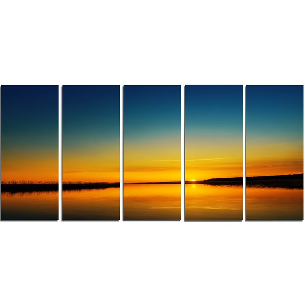 Orange Sunset over River 5 Piece Wall Art on Wrapped Canvas Set by Design Art