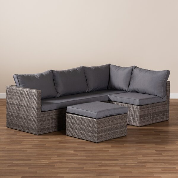 Conestoga 4 Piece Rattan Complete Patio Set with Cushions by Latitude Run