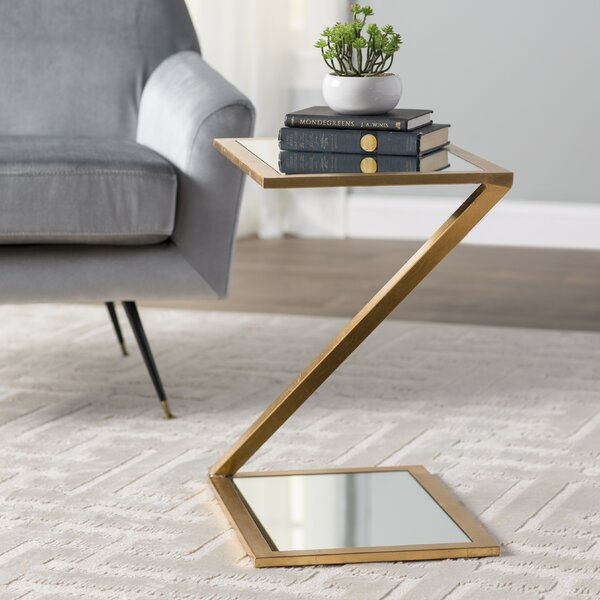 Rex Glass Top Floor Shelf End Table With Storage By Willa Arlo Interiors