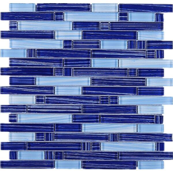 Stripe Random Sized Glass Mosaic Tile in Blue by Multile