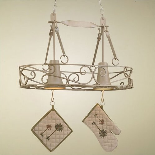 Authentic Iron Oval Hanging Pot Rack with 2 Lights by Hi-Lite