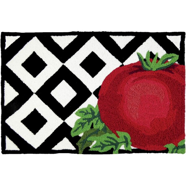 Beams Tomato on Tile Hand-Tufted Black/Red Indoor/Outdoor Area Rug by Winston Porter