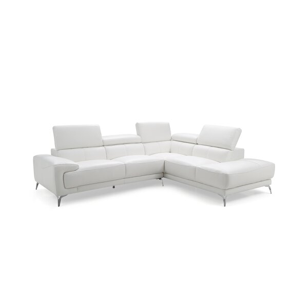Mcclary Right Hand Facing Leather Sectional By Orren Ellis