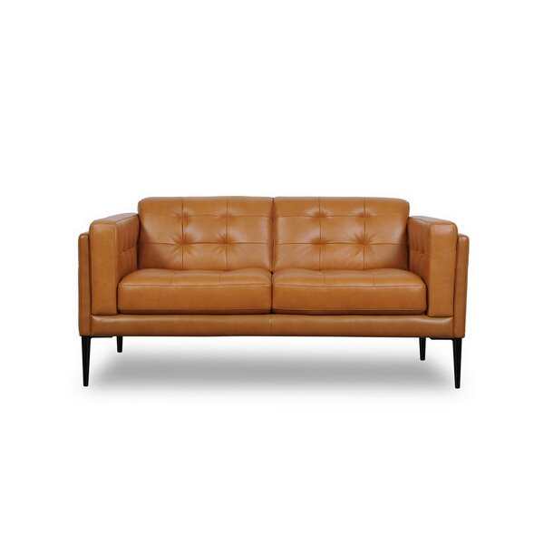 Home & Outdoor Dwayne Genuine Leather Loveseat