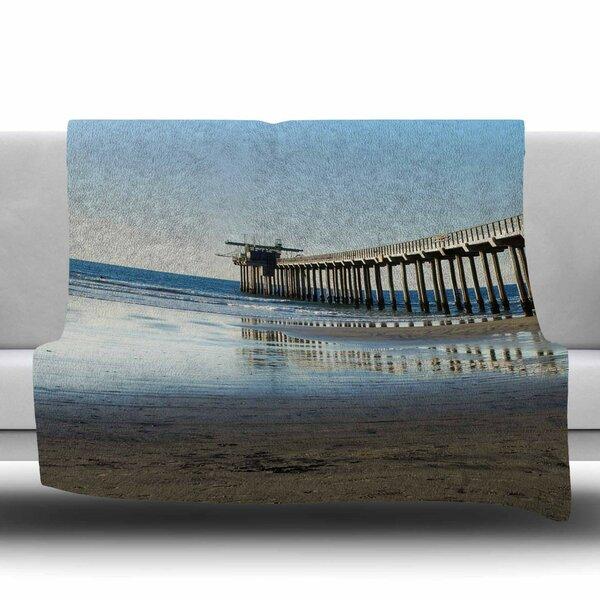 Scripps Beach Pier Fleece Throw Blanket by KESS InHouse