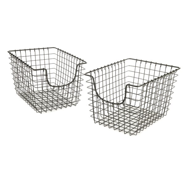 Albin Small Metal Scoop Basket (Set of 2) by Greyleigh