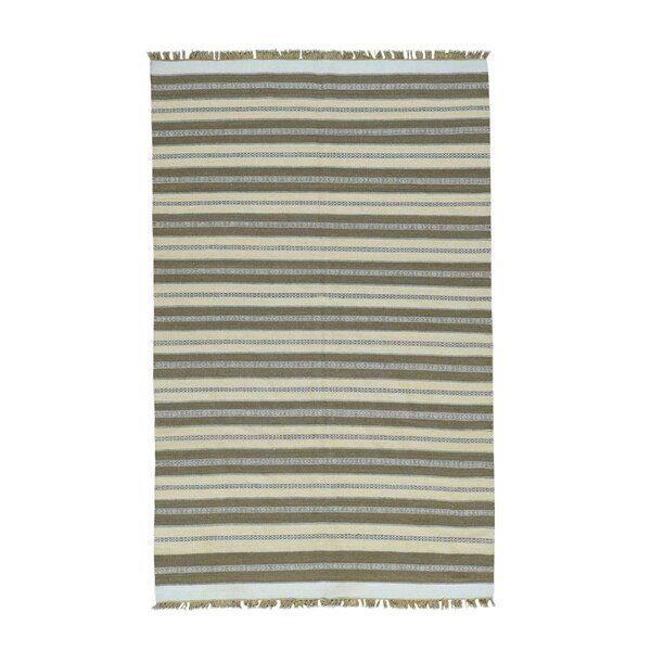 One-of-a-Kind Cilley Striped Flat Weave Hand-Woven Wool Ivory/Taupe Area Rug by Highland Dunes