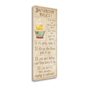 'Family Bathroom Rules' by Jo Moulton Textual Art on Wrapped Canvas by Tangletown Fine Art