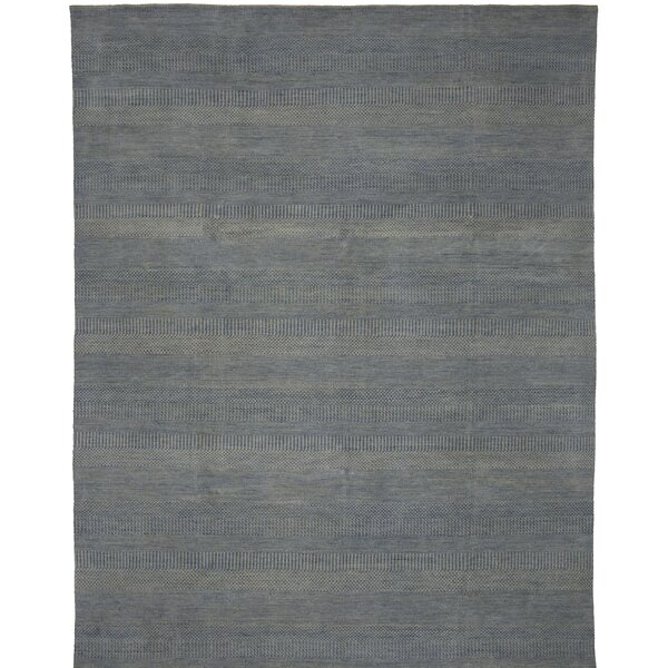Illusions Hand-Knotted Blue Area Rug by Shalom Brothers