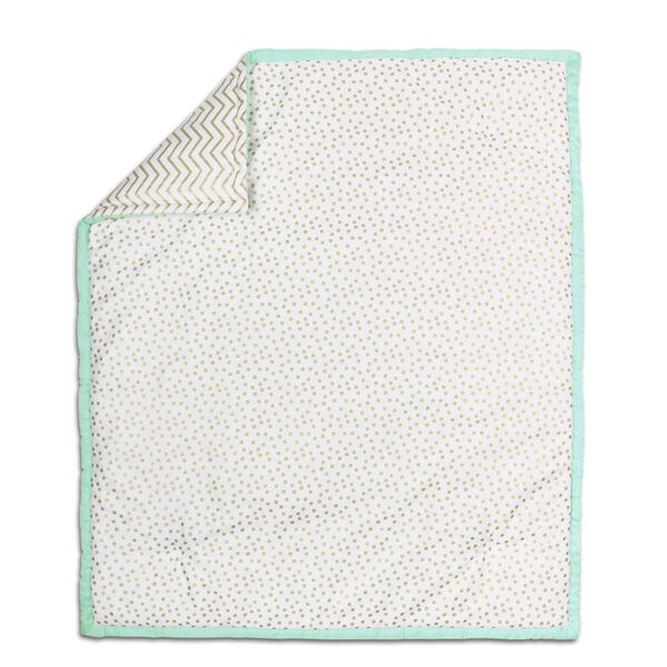Confetti Cotton Quilt in Mint/Gold by The Peanut Shell