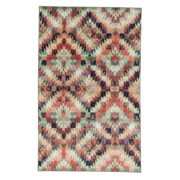 Amblewood Power Loomed Aqua/Pink/Ivory Area Rug by Bungalow Rose