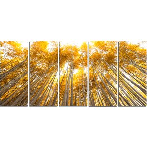 Autumn Bamboo Grove in Yellow 5 Piece Wall Art on Wrapped Canvas Set by Design Art