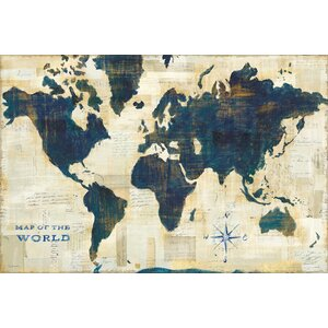 World Map Collage Graphic Art on Wrapped Canvas by East Urban Home