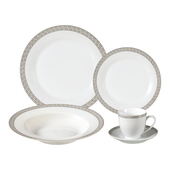 Natalia Porcelain 24 Piece Dinnerware Set, Service for 4 by Lorren Home Trends