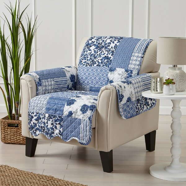 Patchwork Scalloped Printed Box Cushion Armchair Slipcover by Winston Porter