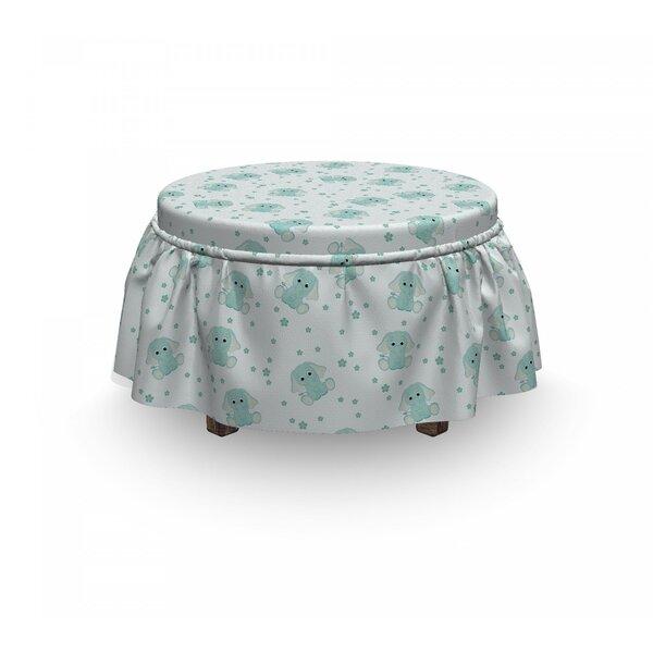 Elephant Baby Characters Daisy 2 Piece Box Cushion Ottoman Slipcover Set By East Urban Home