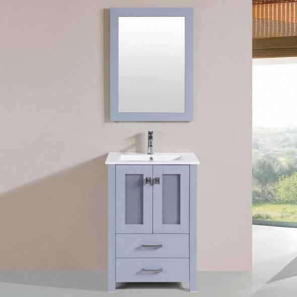 Lapp Modern 24 Single Bathroom Vanity Set with Mirror by Latitude Run