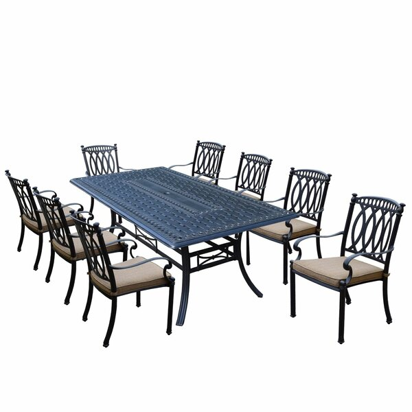 Otsego 9 Piece Aluminum Dining Set with Fabric Cushions by Darby Home Co