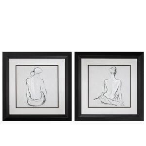 'Poised Pose' 2 Piece Framed Painting Print Set by Propac Images