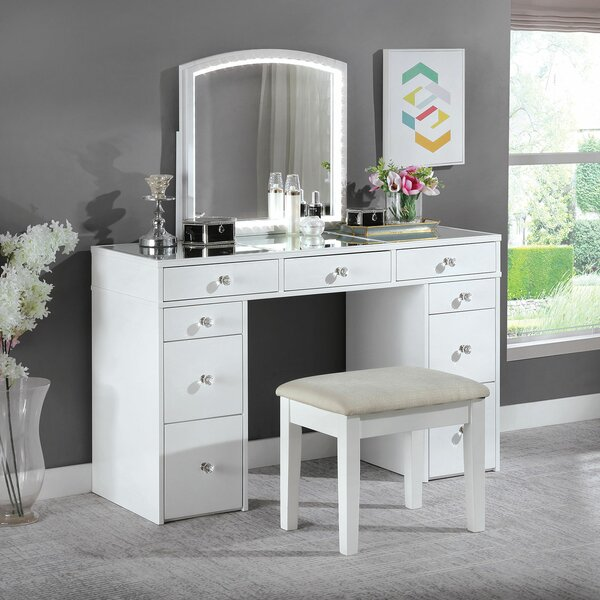 Advika Alameda Vanity with Stool by Everly Quinn