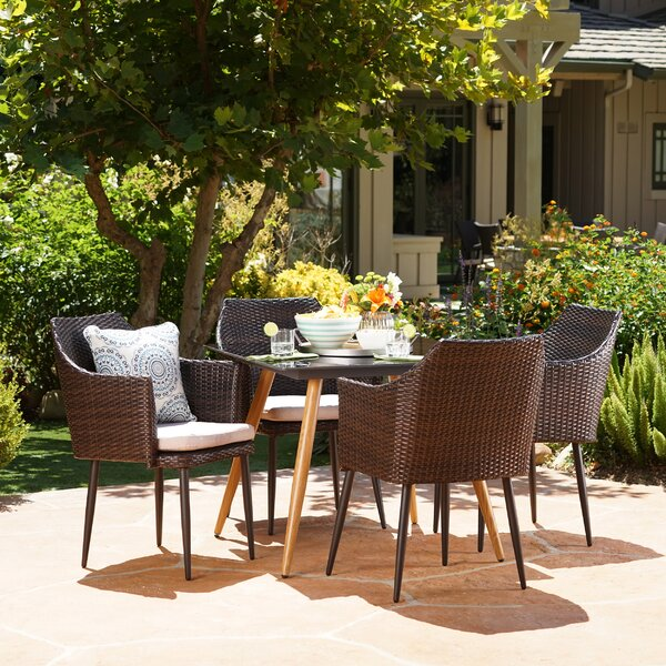 Isaac Outdoor 5 Piece Dining Set with Cushions by George Oliver