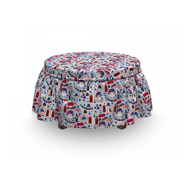 London Travel 2 Piece Box Cushion Ottoman Slipcover Set By East Urban Home