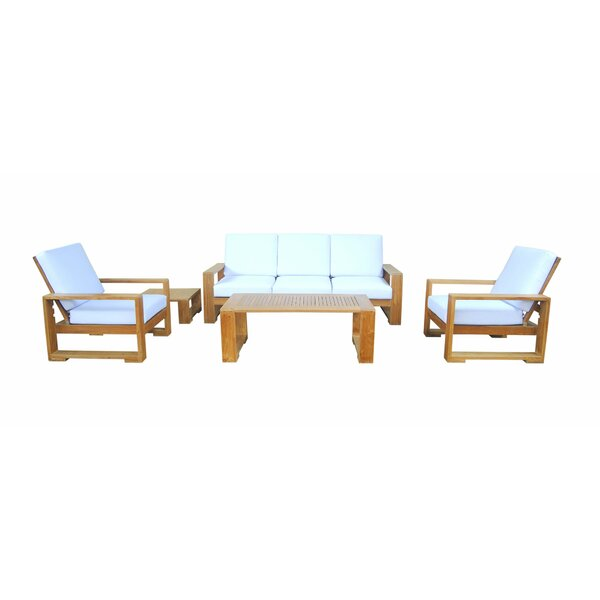 Lochlan 4 Piece Teak Sofa Seating Group with Sunbrella Cushions by Rosecliff Heights