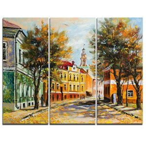 Ancient Vitebsk in Autumn - 3 Piece Painting Print on Wrapped Canvas Set by Design Art