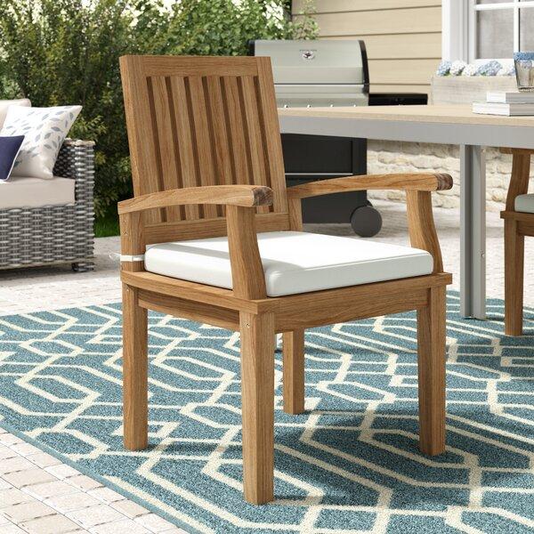 Elaina Teak Patio Dining Chair with Cushion by Beachcrest Home