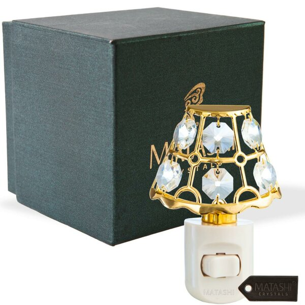 24K Gold Plated Crystal Studded Lamp Shade Multi-Colored LEd Night Light by Matashi Crystal
