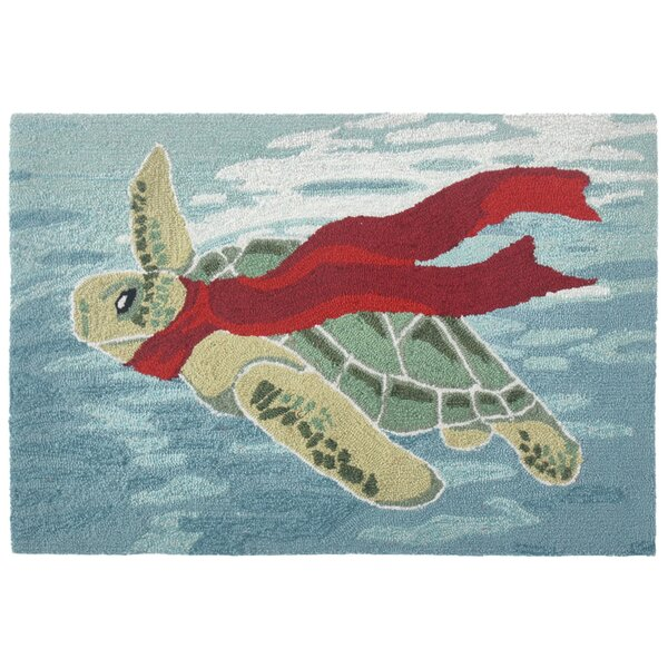 Maybeck Turtle Season Hand-Tufted Blue Indoor/Outdoor Area Rug by Bay Isle Home