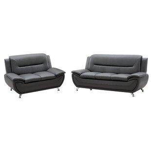 Relax Lounge 2 Piece Living Room Set Dark Grey PU by Ivy Bronx