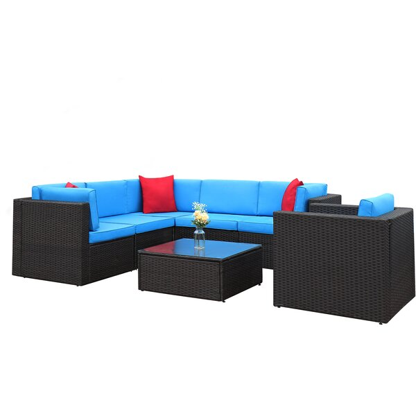 Tuscarora 7 Piece Rattan Sectional Seating Group with Cushions by Ebern Designs