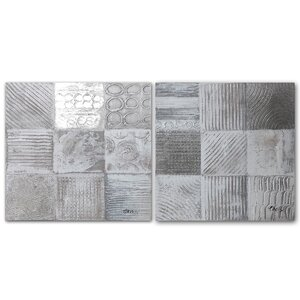 Neutral Cream Patches' 2 Piece Painting on Wrapped Canvas Set by Benjamin Parker Galleries