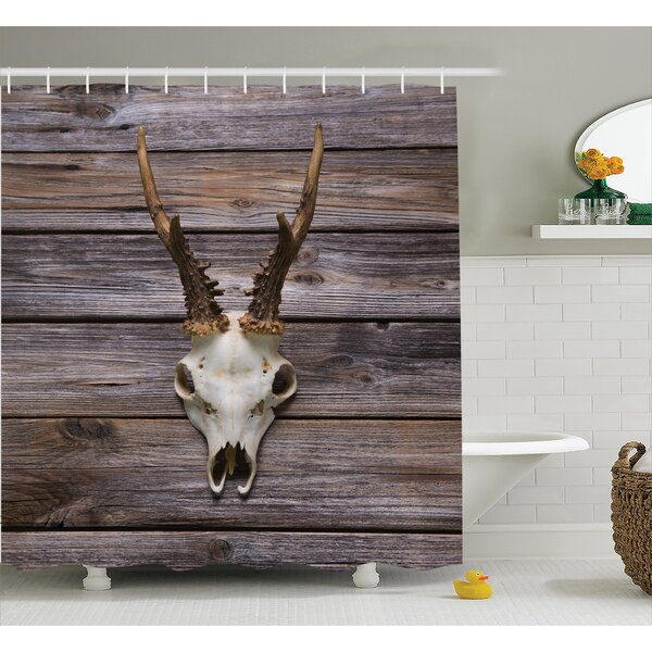 Antler on Wood Shower Curtain by East Urban Home