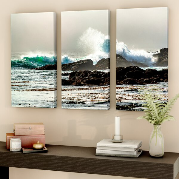 The Wave, Long Beach 3 Piece Photographic Print on Wrapped Canvas Set by Red Barrel Studio
