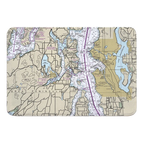 Nautical Chart Seattle WA Rectangle Memory Foam Non-Slip Bath Rug