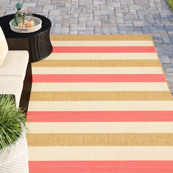 Larana Stripe Beige/Pink Indoor/Outdoor Area Rug by Beachcrest Home