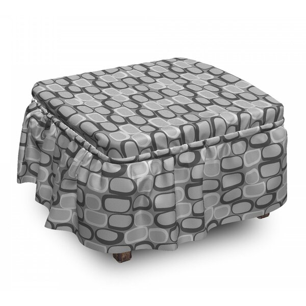 Abstract Stone Wall 2 Piece Box Cushion Ottoman Slipcover Set By East Urban Home