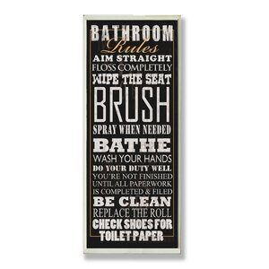'Bathroom Rules Tall Rectangle' Framed Textual Art On Wood by Trent Austin Design