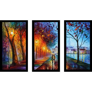 City by The Lake by Leonid Afremov 3 Piece Framed Painting Print Set by Picture Perfect International