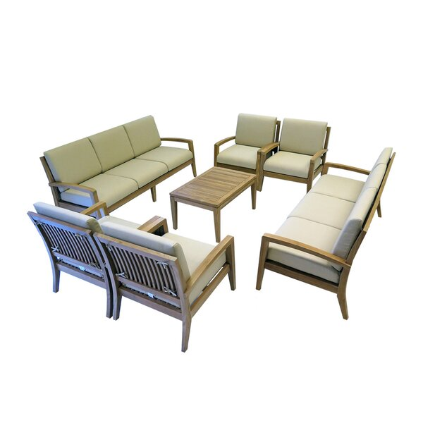 Indira 7 Piece Teak Sofa Seating Group with Cushions by Rosecliff Heights