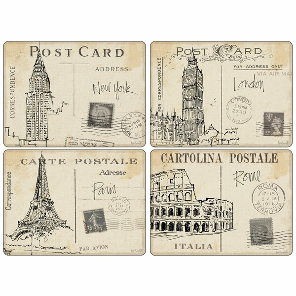 Postcard Sketches 4 Piece Placemat Set by Pimpernel