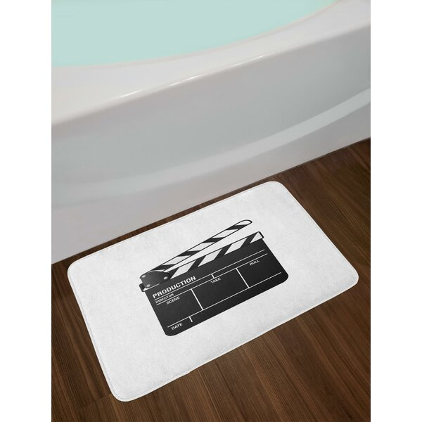 Realistic Illustration of a Clapper Board Symbol for Film and Video Industry Bath Rug by East Urban Home