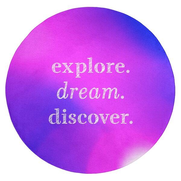 Multicolor Background Explore Dream Discover Quote Poly Chenille Rug