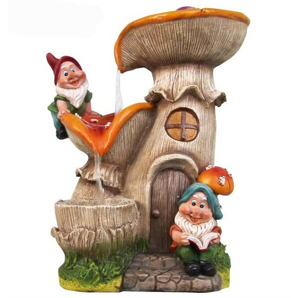 Resin 2 Gnomes Mushroom House Sculptural Fountain by Sintechno
