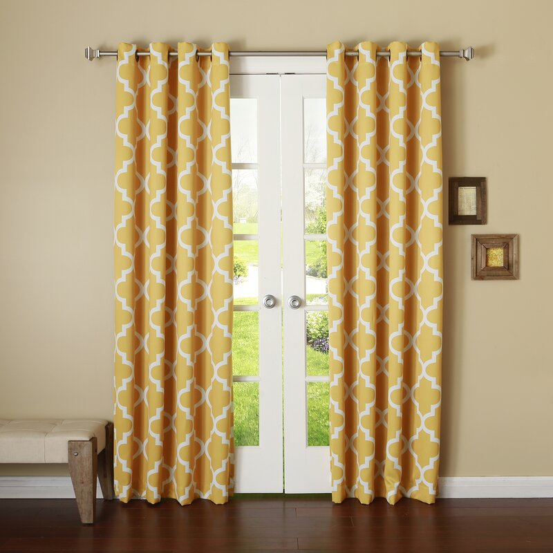 Lana Moroccan Print Energy Efficient Semi Opaque Grommet Single Curtain  Panel